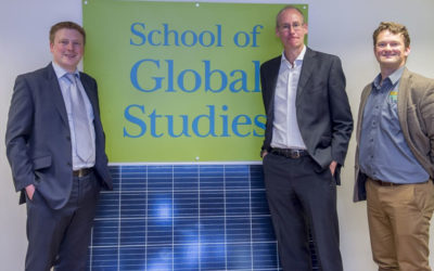 Professor Jan Selby speaks at the University of Sussex's Solar PV switch on event
